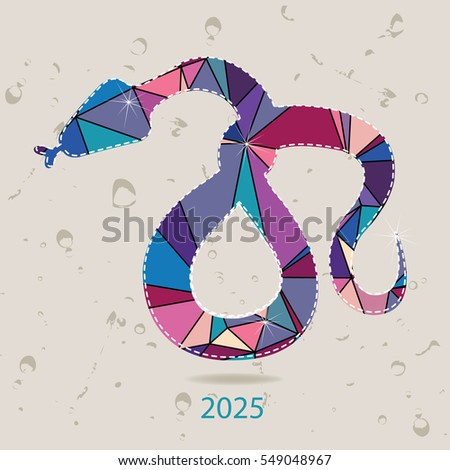 The 2025 new year card with Snake made of triangles