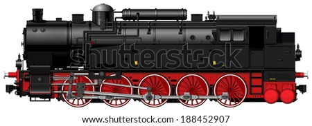 the old red-black steam locomotive
