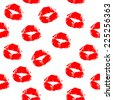 The red kiss mark seamless pattern. female lips prints. vector art image illustration, isolated on white background - stock vector