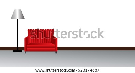 The room walls and the Red sofa - vector illustration