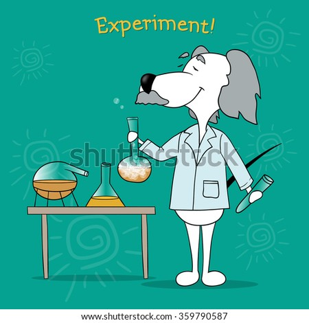 The scientist's experiments. Positive motivating card. Illustration of a cartoon dog.