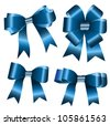 the set of blue ribbon bow - stock vector