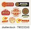 the set of pizza signs - stock vector