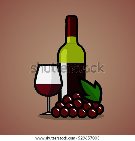 Red Wine Bottle Wine Glass On Stock Vector 248711452 ... Pouring Wine Into A Glass Clip Art