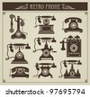 The set of vector vintage phones on a gray background - stock vector