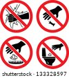 "The signs ""Do not break glass"", ""Do not litter"" - stock vector"