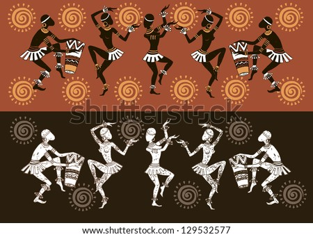 the silhouette of the Africans. Dancing Africans and aborigines ... White Drum Set Silhouette