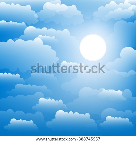 The sky with clouds and sun. Vector.