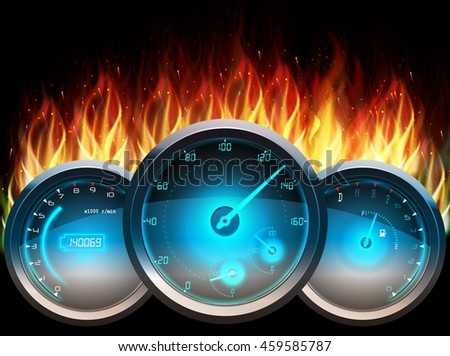 The Speedometer in fire on isolated black background.Vector