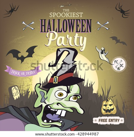The spookiest Halloween party poster. Vector illustration.