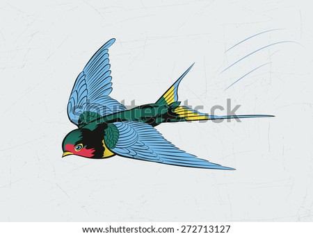 The swallow flies very fast. Vector vintage drawing.
