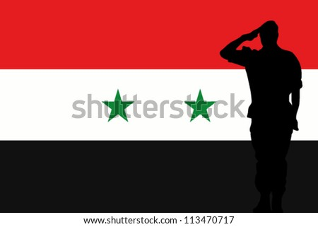 The Syria flag and the silhouette of a soldier saluting