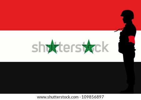 The Syrian flag and the silhouette of a soldier with Red Arm Band