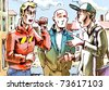 The three young men are talking about something important on the street. - stock photo