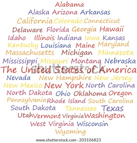 The United States of America in alphabetical order. Vector words collage.