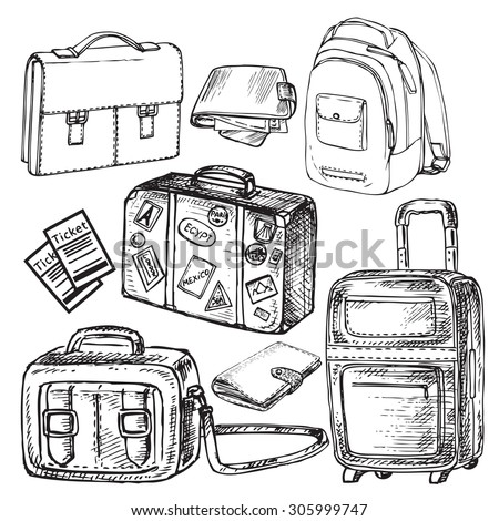 "The vector illustration ""hand drawn set travel bags"" for design"