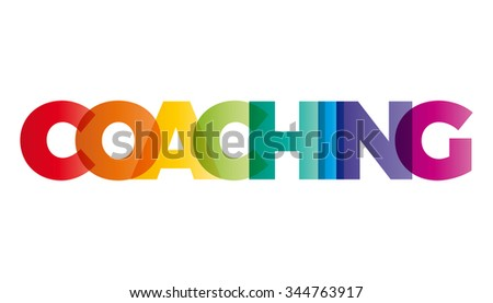 The word Coaching. Vector banner with the text colored rainbow.