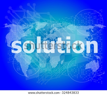 The word solution on digital screen, business concept vector illustration