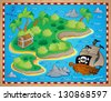 Theme with island and treasure 2 - vector illustration. - stock photo