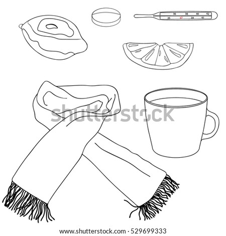 Therapy outline objects. A whole lemon, lemon slice, thermometer, pills, scarf, mug of hot tea on a white background. Hand drawing. Vector illustration. Cold elements.