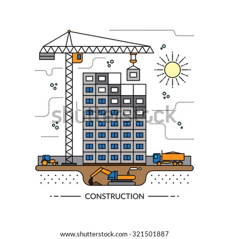 Construction worker building stock vector 572135848 for Process for building a house