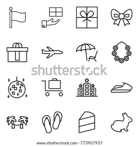 thin line icon set   flag gift bow hi quality package plane thin line icon set gift hi stock vector 756711622   shutterstock  rh   shutterstock