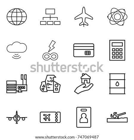 Thin Line Icon Set Globe Hierarchy Plane Atom Cloud Wireless