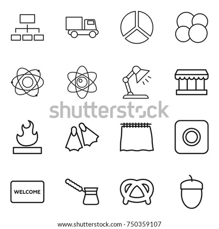 Thin line icon set hierarchy diagram stock vector 754893697 thin line icon set hierarchy truck diagram atom core table lamp ccuart Choice Image