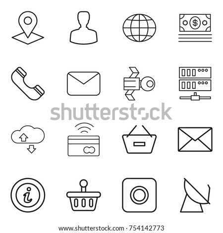 thin line icon set molecule hex stock vector 754909819