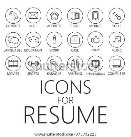 Icons Set Your Resume Cv Job 357219386 on computer network cable