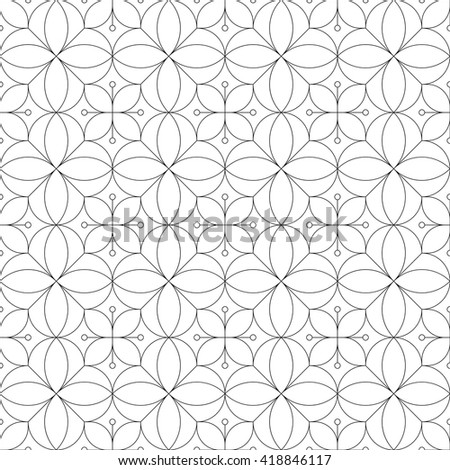 Thin line monochrome geometric seamless pattern. Vector illustration