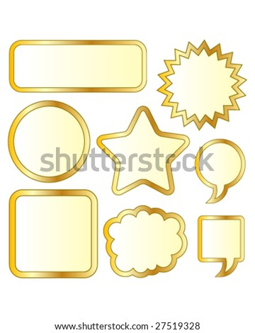Thought or conversation bubble stickers in gold vector
