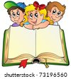 Three children with opened book - vector illustration. - stock photo