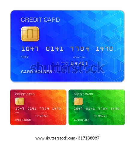 Three color credit cards with geometric pattern