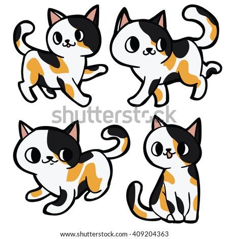 Cat Set 4 Maine Coon American Stock Vector 197232281 ... Tabby Cat Cartoon Drawing
