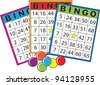 Three colorful bingo cards. - stock vector