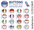 Three Dimensional Buttons with Country Flags for European Union (EU), vector illustration - stock vector