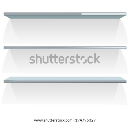 Three empty shelves on white. Vector illustration.