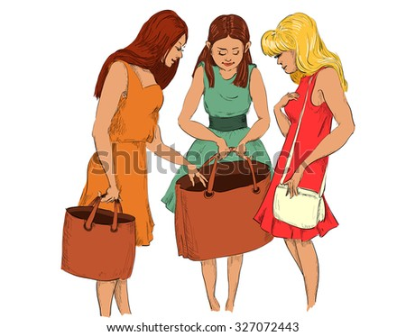 three girls after shopping consider purchases