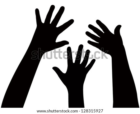 three hands together, vector