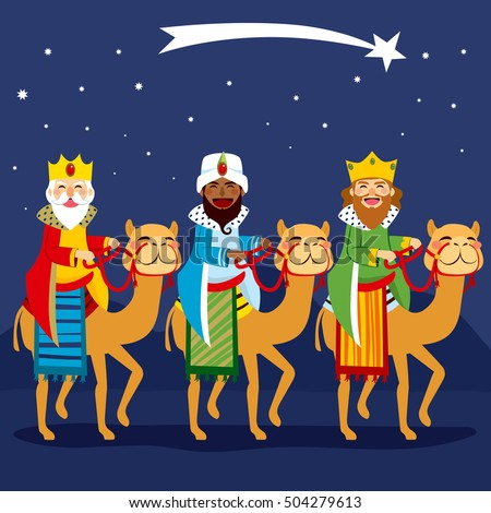 Three happy kings riding camel following shooting star