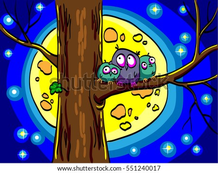 Three owls sitting in a tree. Big moon and stars shining in the night sky. Comic cartoon cute birds.