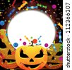 Three smiling pumpkin heads and fireworks with confetti and candy. Abstract Halloween background. - stock vector