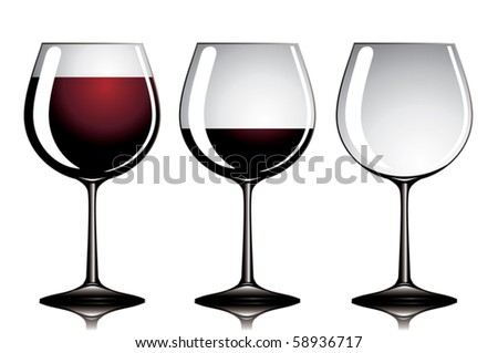 Three wineglasses with variable quantity of red wine.