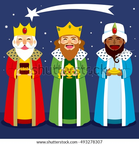 Three wise men bring presents to Jesus in Christmas eve