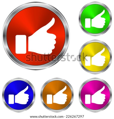 thumb up gesture  icon - vector glossy colourful buttons