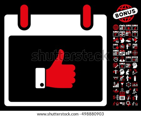 Thumb Up Hand Calendar Day pictograph with bonus calendar and time management icon set. Vector illustration style is flat iconic symbols, red and white, black background.
