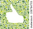 Thumb up hand over Go green icons texture background  Vector file layered for easy manipulation and custom coloring - stock photo