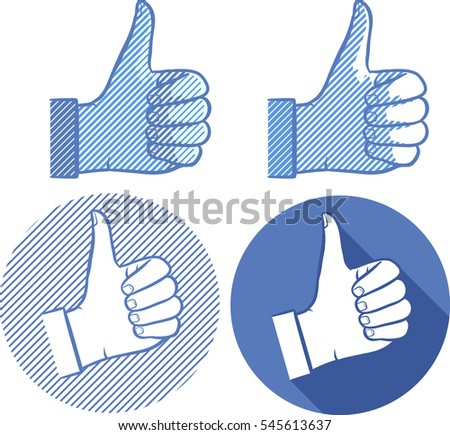 Thumbs up icon set. Global color used