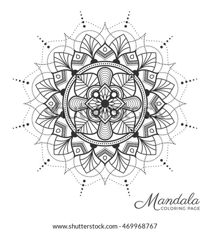 Mandala decorative ornament design coloring page stock for Tibetan mandala coloring pages